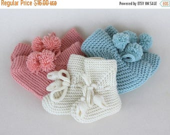 SALE Hand knit baby booties Baby Booties with Pompons - size 0 to 24 Months - Baby Shoes Mary Jane Booties