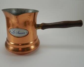 Vintage Copper Le Saucier Ladel Sauce Pan Sauce Pot French Saucepan Copper Tin With Wood Handle By Teleflora Copper Planter French Kitchen