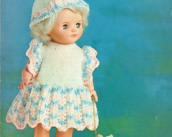 PDF Vintage Doll Clothes Knitting Pattern Lacy Angel Dress & Bobble Hat Robin 2720 Tiny Tears Rose Bud Baby Doll