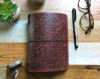B6 SIZE Travelers Notebook - Leather Travelers Notebook - B6 - Embossed Travelers Notebook