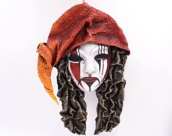 """Hanpainted papermask to hang """"The Shaman-sorcerer"""""""