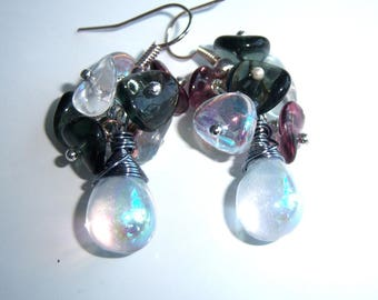 Cluster, glass, glass flower petal drop earrings