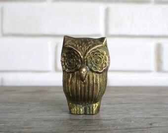Brass Owl Statue, Boho Desk Decor, Boho Desk Accessory, Bohemian Office  Decor,