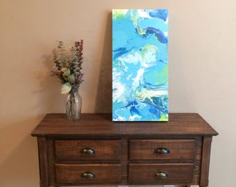 Flow abstract painting acrylic on 12x24 gallery wrapped canvas