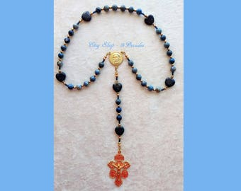 Holy Face of Jesus Chaplet - Heart Lapis Lazuli & Snowflake Lapis with Gold details
