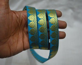 Turquoise Blue Indian Decorative Crafting Trim Wholesale Jacquard Trim By 8 Yard Sewing Trimming Brocade Jacquard Sari Border Metallic Trim