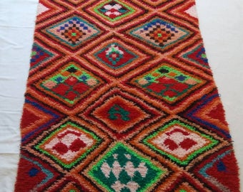 Beautiful vintage Marmoucha rug,  colorful handmade Berber rug,
