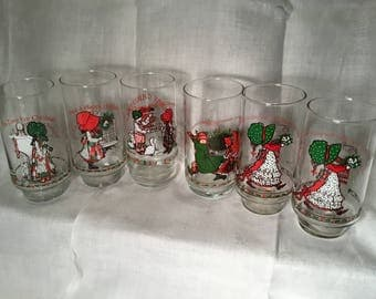 6 Holly Hobby Christmas Glasses
