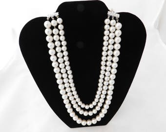 Vintage Multi Strand Faux Pearl Necklace