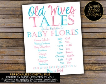 Old Wives' Tales Gender Reveal Party Sign