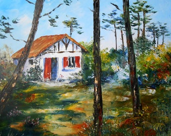 Painting  The little house in the forest