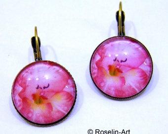 Earrings, Bronze, flower, Rose, Gladiolus