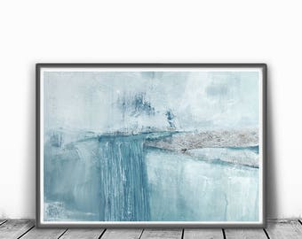 wall art abstract, Abstract Art Print, mint, blue , light blue ,  Digital Download Abstract Print, Large, Abstract Printable,landscape, gray