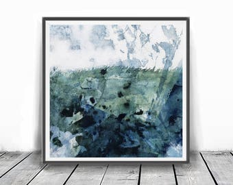 Printable Art,  Art Poster, Digital Download, Wall Decor, green and white, modern abstract, scandinavian design, teal blue white, landscape