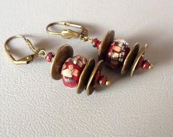 Short, earrings Bohemian, rustic, Lampwork, Czech beads and bronze metal, creating Leamorphoses.