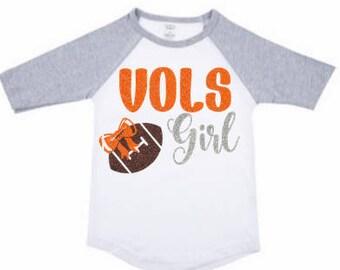 Vols Girl Shirt, Vols Girl Raglan Shirt, Tennessee Shirt, Tennessee Vols Girls Shirt, Football Shirt, Youth Vols Shirt, Kids Tennessee Shirt