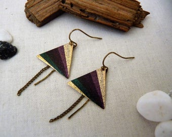 Sequin multicolored triangle and chain earrings