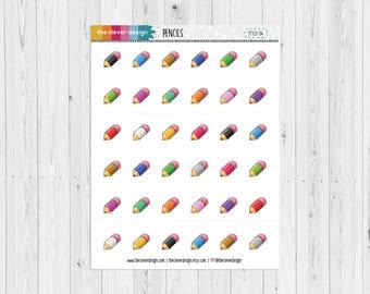 Kawaii Pencils Planner Stickers | Cute Pencils Planner Stickers | School Planner Stickers | 17332-04