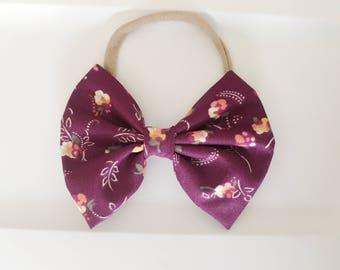 Plum floral bow ,vintage floral ,baby bows bows