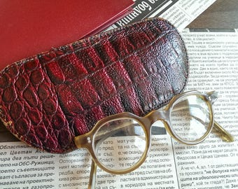 Vintage Leather Glasses Case, Dark Red Double Sided Case for Sunglasses, Eyeglass Case, Eyeglass Holder from 1970s
