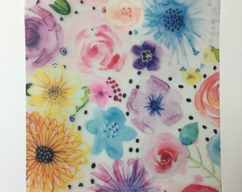 Hand painted floral paper