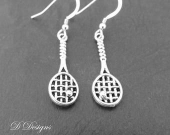 Tennis Earrings, Sporty Earrings, Tennis Jewellery, Sterling Silver Earrings, Tennis Gifts, Sporty Jewellery, Sport Gifts
