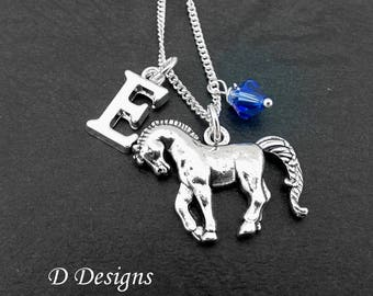 Horse Necklace, Horse Pendent, Personalised Animal Necklace, Sterling Silver Necklace, Personalised Horse Necklace. gifts for horse lovers