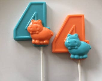 NUMBER FOUR HIPPO Chocolate Lollipops (12 qty) Fourth Birthday/Hippo Favors/Party Favors/Safari Birthday/Zoo Animal Birthday/Zoo Theme Party