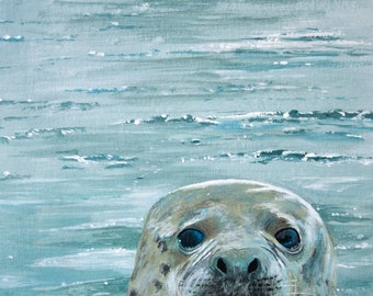 grey seal original art work signed