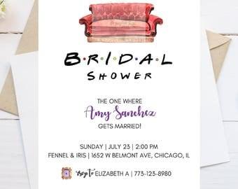 Friends Theme Invitation // Central Perk // Party Invitation // Shower Invitation // Couch // White // 5x7