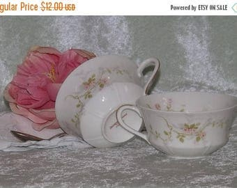 SALE Mismatched Teacups, 2 Teacups, Delicate Pink Floral Teacups, Wedding Teacups, Bridal Showers, Tea Parties, Shabby Chic Teacups