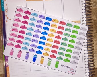 Gym Bag & Water Bottle Fitness Planner Stickers for use with Erin Condren Life Planner and other planners