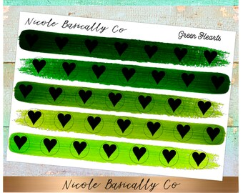 Heart Icons in Green Paint Strokes Planner Stickers