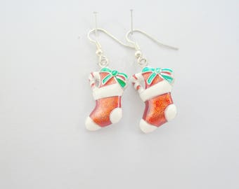 Red and Green Earrings, Christmas Earrings, Holiday Earrings, Stocking Earrings, charm earrings, Christmas jewelry, Holiday Jewelry
