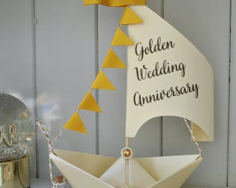 Personalised 50th Golden Anniversary Card, Sailboat gift, 50th Anniversary Gift, Nautical card, Gold Wedding Anniversary, Golden Keepsake