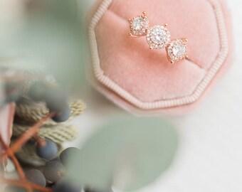 Velvet Ring Box Peach Octagon Handmade Wedding Vintage  Engagement Gift Bride