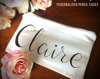 FIVER FRIDAY Personalised pencil case, custom pouch, personalised bag, bridesmaid bags, makeup bag, paubted bee bag, hand painted bag,