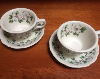 Syracuse China Dogwood Cups and Saucers Set of Two
