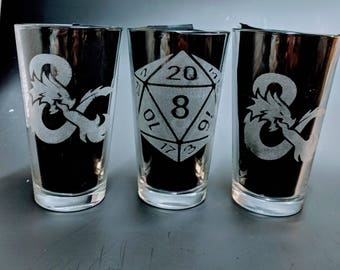 3 Etched Geeky Pub Glasses of your choice