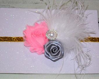Pink,Gold,White,Gray Baby /Girl Headband ,Baby Headband, Vintage Baby Headband ,Girls Headband