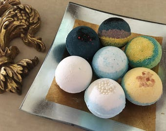 9 Bath Bombs! 2.7 oz, You choose scents! Box Set, Gift for Her, Handmade Bath Fizzies, Lush Coconut Oil, Hydrating Shea Butter