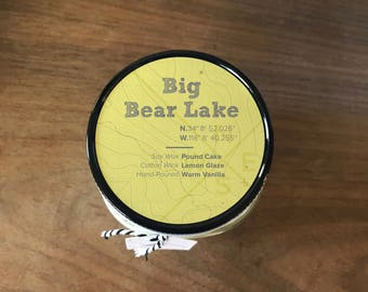 Big Bear Lake || Scented Soy Candle || California || Pound Cake || Lemon || Vanilla || Handmade || Handpoured || Mason Jar Candle