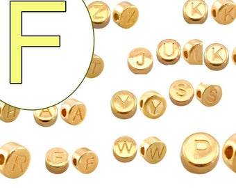 alphabet bead F 7mm gold plated #3735