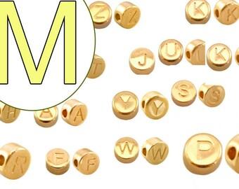 alphabet bead M 7mm gold plated #3861
