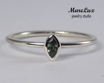 Marquise Tourmaline Silver Ring, October Birthstone Ring, Synthetic Green Tourmaline Marquise Ring, Stackable Marquise Cut Tourmaline Ring