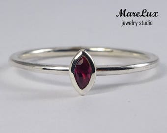 Stacking Marquise Ruby Silver Ring, July Birthstone Ring, Synthetic Ruby Marquise Ring, Stackable Sterling Silver Marquise Cut Ruby Ring