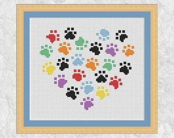 Animal paws cross stitch pattern, modern dog and cat design, cross stitch heart, easy embroidery, simple, quick printable instant download