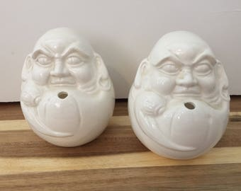 Vintage 1960s Sea Men/Pirate White Porcelain Containers/Planters - Made in Japan