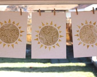 Hand Stamped Block Print. Sun Print. Hand Printed