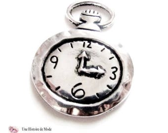 Charm pendant - Watch Pocket Watch - silver color - 32 x 27 mm